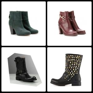 in alto da sinistra: daily boots by Rag&Bone - daily boots by Mulberry / in basso da sinistra: biker boots by Patrizia Pepe - biker boots by Ash